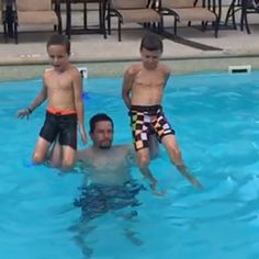 Pin for Later: 14 Photos of Mark Wahlberg and His Kids That Prove He's a Big Softie Actor Mark Wahlberg, Tough Guy, Softies, Hollywood, Hero, Actors, Workout, Guys, Celebrities