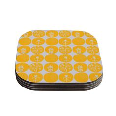 "Kess InHouse Anneline Sophia ""Dotty Papercut Yellow"" Circles Gray Coasters (Set of 4) 4""x 4"" (Dotty Papercut Yellow) (Wood)"