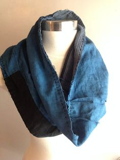 "Antique Material Handmade Reversible Japanese Indigo Boro Snood /  Scarf - (13 x19"") Denim Sashiko Japan FREE SHIPPING"