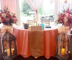 Beautiful Sweet Heart Table Set - Up| Peach and Aqua Wedding| Pink and White Floral Arrangement| Burlap Table Runner| South Jersey Wedding Venue