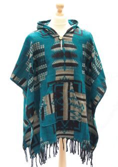 AZTEC PONCHO Fleece Jacket Shawl Native Patterned Hooded Top Festival UNISEX  #Paisleyporium #Ponchos #Casual