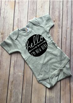 Hello Im New Here Gray Cotton Onesie by CloudNineandCompany