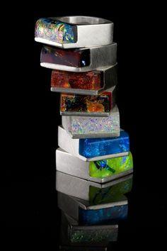 Vetro Caldo Designs - Marc & Wendy Zoschke - fused dichroic glass and various metals