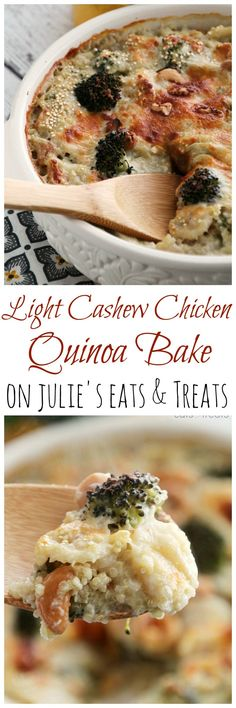 Light Cashew Chicken Quinoa Bake ~ Comforting Casserole Stuffed with Broccoli, Chicken, Quinoa, Water Chestnuts, Cashews in a Light Cream Sauce and Topped with Cheese! ~ http://www.julieseatsandtreats.com
