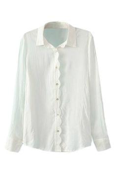 波形装飾シアー ホワイト シャツ