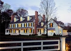 Colonial exterior front dusk lighting