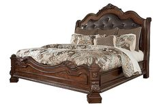 Brown Ledelle King Sleigh Bed View 2