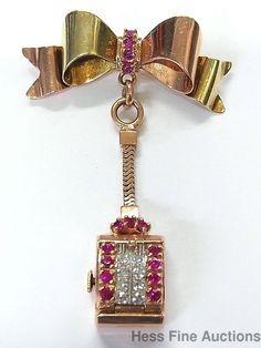 1940s Green Rose 14k Gold Genuine Diamond Lab Ruby Retro Deco Pin Pendant Watch #Packard