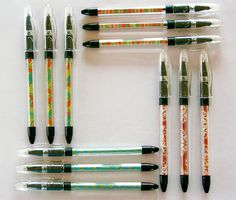 Embellished Pens- just roll small piece of scrapbook paper around ink barrel, stuff back into pen, screw lid/cover back on