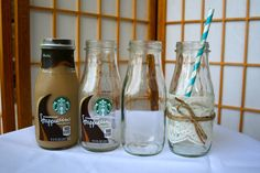 Tutorial: Removing Label From A Starbucks Frappucino Bottle How to remove the sticky labels off Starbucks Frappuccino bottles and use them at your next party! Tutorial: Removing Label From A Starbucks Frappucino Starbucks Bottle Crafts, Starbucks Glass Bottles, Starbucks Frappuccino Bottles, Liquor Bottles, Sticky Labels, Remove Labels, Label Removing, Bottle Cutting, Glass Bottle Crafts