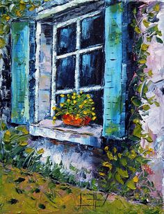 Blue Shutters In Tuscany ~ Lisa Elley ~ Original Oil Painting Palette Knife Art Paintings I Love, Beautiful Paintings, Italy Art, Window Art, Painting & Drawing, Knife Painting, Pictures To Paint, Oeuvre D'art, Art World