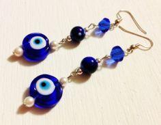 Earrings  Evil Eyes Beads  Cobalt Blue  Beaded by CraftyChic90, $4.50