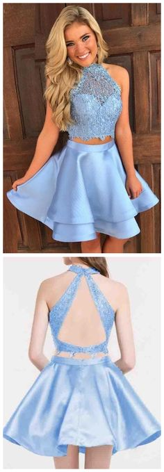 Homecoming Dresses,Two Piece Homecoming Dress,Silver Prom Dresses,Lace