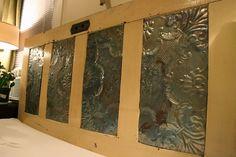 door headboard with antique ceiling tiles