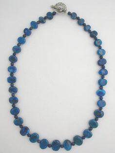 blue lapis necklace. Extend length using lapis bracelet.