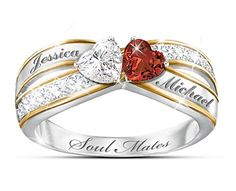 """What a wonderful way to share your heart...on 4 easy pay payments.. """"Two Hearts Become Soul Mates"""" Topaz & Garnet Engraved Ring  Heart-shaped white topaz and garnet gemstones form the centerpiece of this personalized ring. Solid sterling silver with 18K-gold plating. Gift box. #teelieturner #valentinesday #teelieturnershoppingnetwork www.teelieturner.com"""