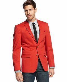 M151 Solid Cotton Blazer, Red