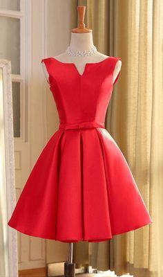 A line short red mini prom dresses, short red homecoming dresses, form – jbydress Knee Length Bridesmaid Dresses, Cheap Homecoming Dresses, Hoco Dresses, Prom Party Dresses, Trendy Dresses, Dance Dresses, Dress Party, Formal Dresses, Inexpensive Wedding Dresses