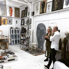 karin meyn at the studio of mart visser, amsterdam, she says; he only makes faces, i like them #art #martvisser