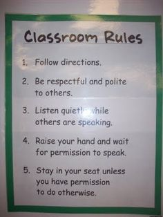 Elementary Classroom Rules: have students come up with rules they think our important on the first day, have your own
