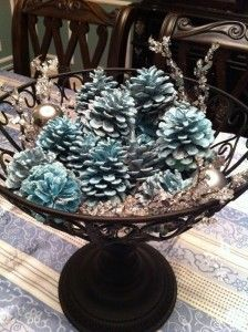 glittery pinecone centerpiece