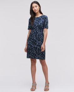 Update your wardrobe with a patterned piece by wearing our Block Print Dress. Cut from stretch-viscose this dress sculpts a lovely silhouette created by front and back side darts. Other features include a round neck and short sleeves. Simply wear with a leather heel.