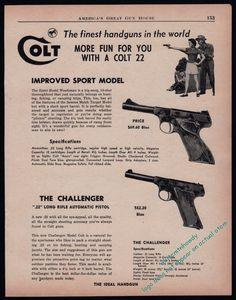 1955 COLT WOODSMAN Sport Model and Challenger Pistol AD w/original prices