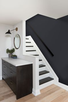 54 The Most Popular Staircase Design This Year For Interior Design Your Home Design # Interior Design Your Home, House Paint Interior, Interior Stairs, Kitchen Interior, Most Popular Paint Colors, Painted Stairs, Bedroom Paint Colors, Basement Paint Colours, Stairs Colours
