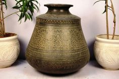 Fab collection of #Vintage #bronze #planters. View our complete collection of vintage bronze planters at http://www.indianshelf.com/category/urli-pots-planters/.