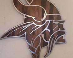 Minnesota Vikings head on wood SKOL metal art viking wall | Etsy Outdoor Metal Wall Art, Metal Art, Metal Wall Decor, Hanging Wall Art, Minnesota Vikings Logo, Viking Head, Viking Logo, Wooden Chess Board, Tropical Home Decor