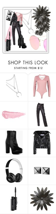 """""""Lady Fighter"""" by tilarids ❤ liked on Polyvore featuring Boohoo, By Terry, Helmut Lang, Balenciaga, Beats by Dr. Dre, Waterford and MAC Cosmetics"""