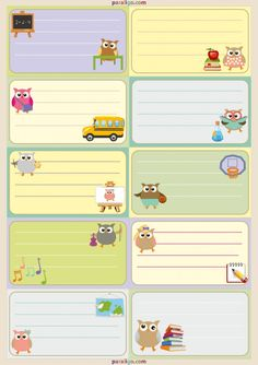Printable School notebook labels with adorable owls for your little ones!