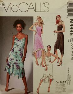 e1c48d22a432 McCall s Evening Dance Tango Dress Pattern 4445 Uncut Sizes 4 to 10 Bust 29  to 32