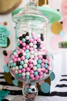 Cue the Confetti Party, sequins, stripes, glitter, tassels, shimmer gumballs   #party #kidsparty #birthdayparty