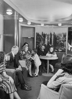 Super Chief train, observation car, late 40s
