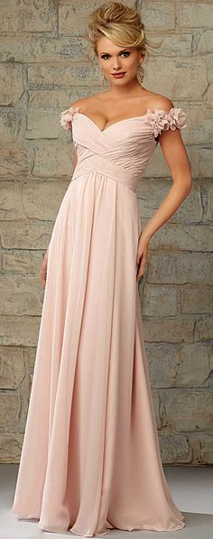 Chic Chiffon Off-the-shoudler Neckline Floor-length A-line Bridesmaid Dress
