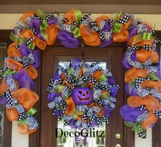 Halloween GARLAND and WREATH with LIGHTS Zebra Ribbon by decoglitz
