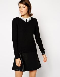 ASOS Jumper With Lace Collar