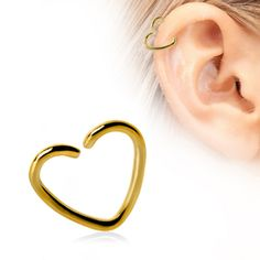 Gold Plated Heart Shaped Cartilage Earring