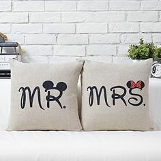 Mr and Mrs Mouse Pillow (bridal shower gifts) #mickey #minnie #wedding