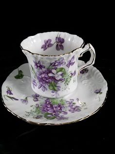 Vintage Hammersley Victorian Violets Bone China Tea Cup and Saucer - England #Hammersley