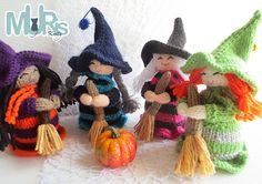 Ravelry: Halloween Witch Ornament pattern by Muris Knits Halloween Knitting Patterns, Christmas Crochet Patterns, Knitting Patterns Free, Knitting Projects, Crochet Projects, Free Pattern, Yarn Dolls, Knitted Dolls, Crochet Doll Pattern