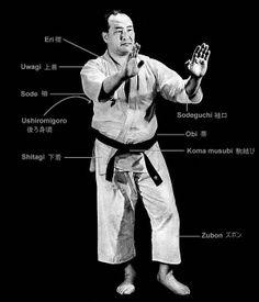 KarateGi anatomy - Master Mass Oyama Kyokushin Karate, Shotokan Karate, Kung Fu Techniques, Goju Ryu, Hand To Hand Combat, Combat Sport, Mixed Martial Arts, Taekwondo, Martial