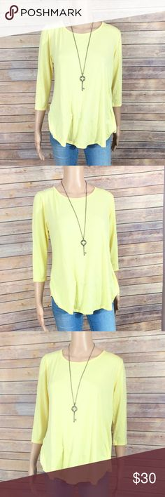 """Small Peach Love California Knit Open Back Top Condition: new with no tags  Color: yellow  Material: 96% rayon, 4% spandex  Measurements laid flat:   Bust: 19""""  Length: 25.5""""  3/4 sleeves, scoop neck, button back closure, open lace back yoke, draped keyhole open back Peach Love California Tops"""
