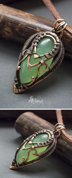 Green chalcedony pendant