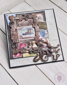 International Flair designer, Baerbel Born, steampunk Octopus, scrapbook layout