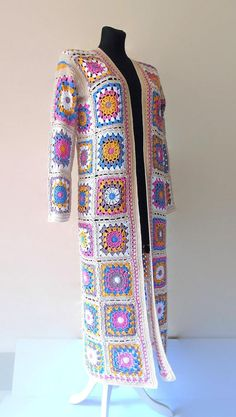 Granny square Coat Patchwork Hippie Jacket Festival Boho   Etsy