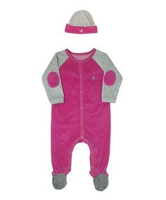 This Hot Pink & Gray Velour Footie & Beanie - Infant by Frenchie Mini Couture is perfect! #zulilyfinds