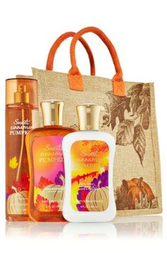 body lotion, body wash, and fine fragrance mist trio with tote, sweet cinnamon pumpkin ☆ notes of pumpkin, apple, ginger, jasmine, cinnamon, spice, gingerbread, amber, rum, spiced vanilla, and sandalwood ☆ bath & body works
