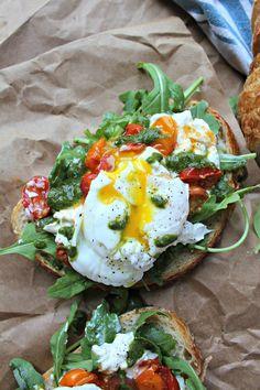 Poached Egg, Heirloom Tomato, Buratta Toast with Basil Vinaigrette